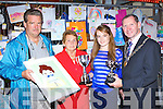 Mrs Courtney presents the Michael Courtney Perpetual cup to Niamh Clifford Killarney the overall winner of the Bird Amusements art competiton on Saturday evening l-r: Don Bird, Mrs Courtney, Niamh Clifford and Paddy Courtney Killarney Mayor