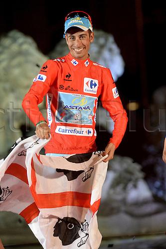 13.09.2015. Alcala de Henares to Madrid. Vuelta Espana cycling tour championships, stage 21.  Astana 2015, Aru Fabio celebrates his tour win in Madrid
