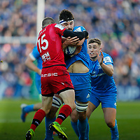 12th January 2020; RDS Arena, Dublin, Leinster, Ireland; Heineken Champions Cup Rugby, Leinster versus Lyon Olympique Universitaire; Max Deegan of Leinster is held up in the tackled by Toby Arnold of Lyon - Editorial Use