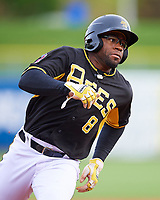 Eric Young Jr. (8) of the Salt Lake Bees hustles towards third base against the Fresno Grizzlies in Pacific Coast League action at Smith's Ballpark on April 17, 2017 in Salt Lake City, Utah. The Bees defeated the Grizzlies 6-2. (Stephen Smith/Four Seam Images)