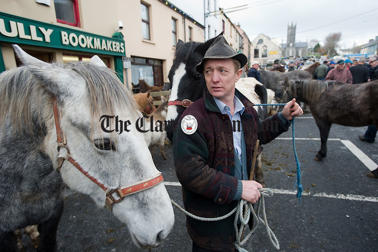 Steven O Connor of Ballyhahill, Co. Limerick  at the annual November Horse fair in Ennistymon. Photograph by John Kelly.