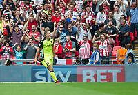 Exeter's David Wheeler celebrating after scoring during the Sky Bet League 2 PLAY OFF FINAL match between Exeter City and Blackpool at Wembley Stadium, London, England on 28 May 2017. Photo by Andrew Aleksiejczuk.