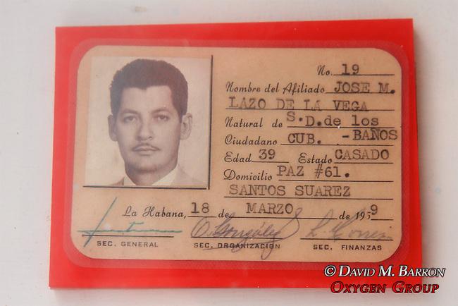Jose M Lazo De La Vega's ID Card,  Invasion Museum, Giron Museum, Bay Of Pigs (1961)