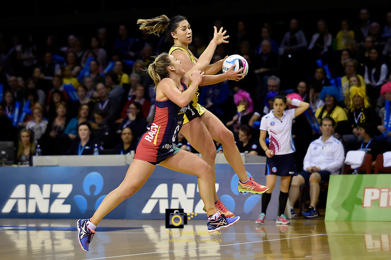 Pulse's Samon Nathan and Vixen's Liz Watson in action during the ANZ Championship - Central Pulse v Vixens at TSB Bank Arena, Wellington, New Zealand on Monday 4 July 2016. <br /> Photo by Masanori Udagawa. <br /> www.photowellington.photoshelter.com.