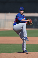 Jeff Lorick of the Chicago Cubs pitches during a Minor League Spring Training Game against the Los Angeles Angels at the Los Angeles Angels Spring Training Complex on March 23, 2014 in Tempe, Arizona. (Larry Goren/Four Seam Images)