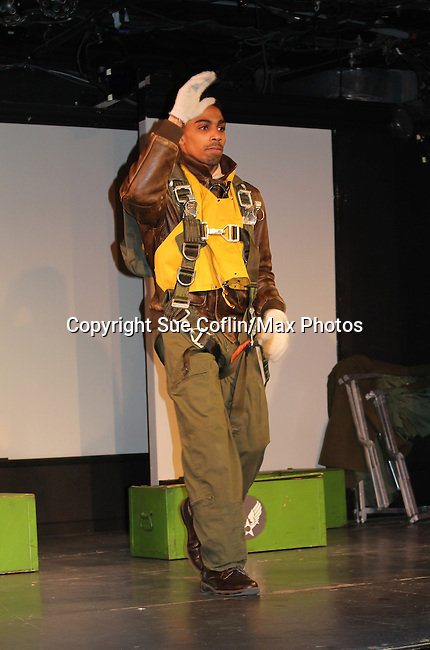 "Anthony Goss at curtain call of 7th Anniversary of Layon Gray's ""Black Angels Over Tuskegee"" - Straighten Up Fly Right - on February 10, 2017 at St. Luke's Theatre, New York City, New York. (Photo by Sue Coflin/Max Photos)"
