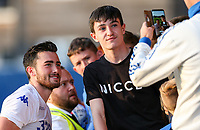 Leeds United's Jack Harrison has a photo taken with a fan during the game<br /> <br /> Photographer Alex Dodd/CameraSport<br /> <br /> Football Pre-Season Friendly - York City v Leeds United - Wednesday 10th July 2019 - Bootham Crescent - York<br /> <br /> World Copyright © 2019 CameraSport. All rights reserved. 43 Linden Ave. Countesthorpe. Leicester. England. LE8 5PG - Tel: +44 (0) 116 277 4147 - admin@camerasport.com - www.camerasport.com