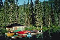 Emerald Lake boathouse, Yoho National Park, British Columbia, Canada