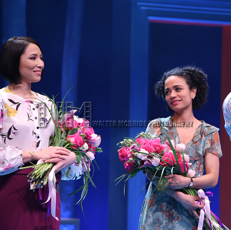 Julee Cerda and Lauren Ridloff during the Broadway opening night performance Curtain Call for 'Children of a Lesser God' at Studio 54 Theatre on April 11, 2018 in New York City.