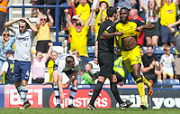 Burton Albion's Hope Akpan celebrates scoring his side's equalising goal to make the score 1-1<br /> <br /> Photographer Alex Dodd/CameraSport<br /> <br /> The EFL Sky Bet Championship - Preston North End v Burton Albion - Sunday 6th May 2018 - Deepdale Stadium - Preston<br /> <br /> World Copyright &copy; 2018 CameraSport. All rights reserved. 43 Linden Ave. Countesthorpe. Leicester. England. LE8 5PG - Tel: +44 (0) 116 277 4147 - admin@camerasport.com - www.camerasport.com