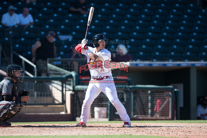 Surprise Saguaros catcher Jeremy Martinez (4), of the St. Louis Cardinals organization, at bat in front of catcher Daulton Varsho (8) during an Arizona Fall League game against the Salt River Rafters on October 9, 2018 at Surprise Stadium in Surprise, Arizona. Salt River defeated Surprise 10-8. (Zachary Lucy/Four Seam Images)
