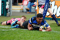 Cooper Vuna of Bath Rugby scores a first half try. Anglo-Welsh Cup Final, between Bath Rugby and Exeter Chiefs on March 30, 2018 at Kingsholm Stadium in Gloucester, England. Photo by: Matt Impey / Wired Photos for Onside Images