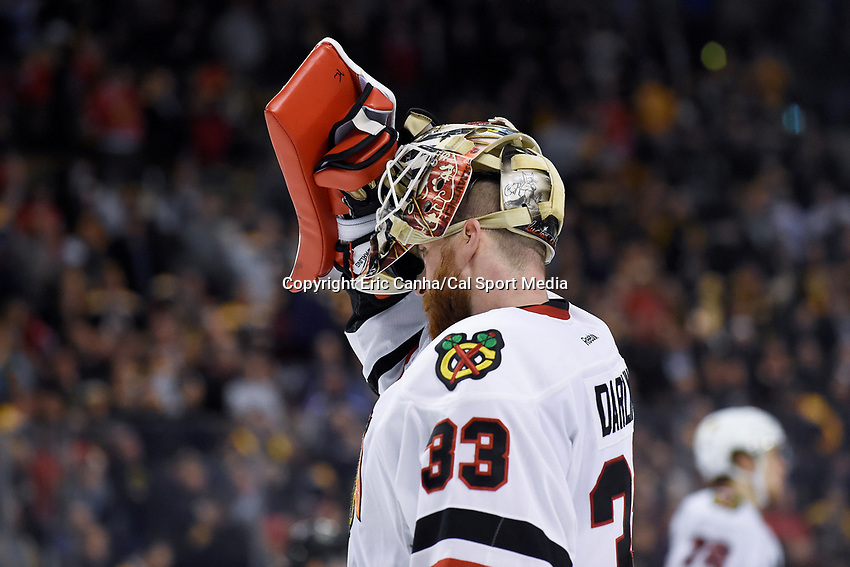 Thursday, March 3, 2016: Chicago Blackhawks goalie Scott Darling (33) returns to the net during the National Hockey League game between the Chicago Blackhawks and the Boston Bruins, held at TD Garden, in Boston, Massachusetts. Boston defeated Chicago 4-2. Eric Canha/CSM