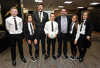 Pictured: The winners, pupils from Pentrehafod School with Graham Smith and headteacher Wednesday 25 November 2015<br />