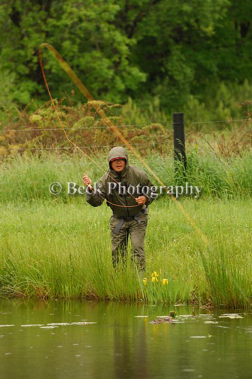 Fly fishing in the rain in PA