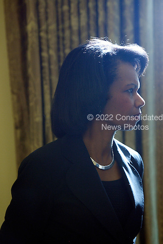 United States Secretary of State Condoleezza Rice listens to the President of the Slovak Republic, Ivan Gasparovic and U.S. President George W. Bush speaking to the press after a meeting  in the Oval Office of the White House, in Washington DC, on October 09, 2008.<br /> Credit: Aude Guerrucci / Pool via CNP