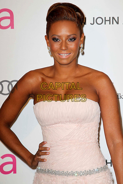 Melanie Brown aka Mel B.21st Annual Elton John Academy Awards Viewing Party held at West Hollywood Park, West Hollywood, California, USA..February 24th, 2013.oscars half length hand on hip silver belt pink strapless dress .CAP/ADM/KB.©Kevan Brooks/AdMedia/Capital Pictures.