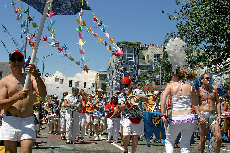 "Seattle, Fremont Solstice Parade, Fremont neighborhood has dubbed itself the ""Center of the Universe"" Washington State, Pacific Northwest, USA,"