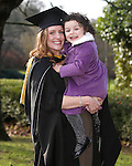 REPRO FREE<br /> 21/01/2015<br /> Triona O'Brien from Longford Town who graduated with Masters in Speech and Language Therapy gets a hug from daughter Alessia LoNigro (aged 3) as the University of Limerick continues three days of Winter conferring ceremonies which will see 1831 students conferring, including 74 PhDs. <br /> UL President, Professor Don Barry highlighted the increasing growth in demand for UL graduates by employers and the institution&rsquo;s position as Sunday Times University of the Year. <br /> Picture: Don Moloney / Press 22