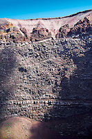 Layers of  volcanic rock on the  volcanic crater of Mount Vesuvius, Italy