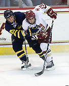 Matt Moulakelis (Merrimack - 25), Cam Atkinson (BC - 13) - The Boston College Eagles defeated the Merrimack College Warriors 4-3 on Friday, October 30, 2009, at Conte Forum in Chestnut Hill, Massachusetts.