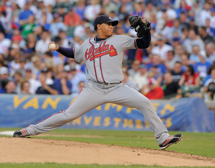 JAIR JURRJENS, of the Atlanta Braves in action  during the Braves  game against the  Chicago Cubs, The Cubs beat the Braves 4-2 in Chicago, Illinois on July 6, 2009...David Durochik