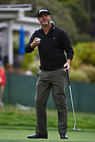 Scott Piercy (USA) sinks his birdie putt on 14 during round 1 of the 2019 US Open, Pebble Beach Golf Links, Monterrey, California, USA. 6/13/2019.<br /> Picture: Golffile | Ken Murray<br /> <br /> All photo usage must carry mandatory copyright credit (© Golffile | Ken Murray)