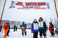 Honorary mushers Jeanette and Bernie Willis pose the start of the 2018 Junior Iditarod Sled Dog Race on Knik Lake in Southcentral, Alaska.  Saturday February 24, 2018<br /> <br /> Photo by Jeff Schultz/SchultzPhoto.com  (C) 2018  ALL RIGHTS RESERVED