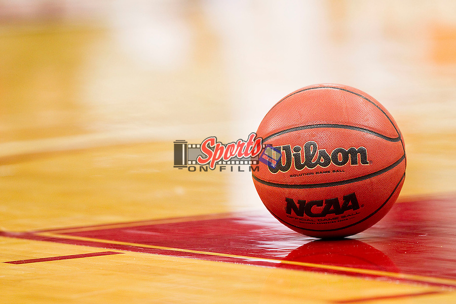 A Wilson NCAA basketball waits to be put into play during an Atlantic Coast Conference game between the Wake Forest Demon Deacons and the North Carolina State Wolfpack at the RBC Center on January 8, 2011 in Raleigh, North Carolina.  The Wolfpack defeated the Demon Deacons 90-69.  Photo by Brian Westerholt / Sports On Film