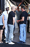 Kellan Lutz, Wesley Snipes, Jason Statham, Sylvester Stallone and Antonio Banderas present the film ´The Expendables 3'. In the Pic: Wesley Snipes, Jason Staham and Silvester Stallone, in Marbella, Spain. August, 5 of 2014. (ALTERPHOTOS/Carlos Dafonte)