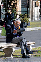 A man makes a video call in Navona sqaure during Italy's lockdown due to Covid-19 pandemic. <br /> Rome 30/04/2020 <br /> Photo Andrea Staccioli Insidefoto