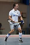 Mannheim, Germany, January 10: During the 1. Bundesliga Herren Hallensaison 2014/15 Sued  hockey match between Mannheimer HC (blue) and Muenchner SC (white) on January 10, 2015 at Irma-Roechling-Halle in Mannheim, Germany. Final score 8-8 (3-5). (Photo by Dirk Markgraf / www.265-images.com) *** Local caption *** Maximilian Stephan #8 of Muenchner SC