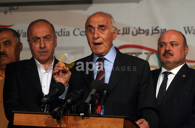 Head of the independent Palestinian national figures, Munib Al-Masri, speaks during a press conference on national reconciliation, and consultations to form a government, in the West Bank, city of Ramallah, May 28, 2012. Photo by Issam Rimawi