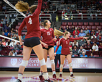 Stanford, CA - October 18, 2019: Meghan McClure, Madeleine Gates, Jenna Gray at Maples Pavilion. The No. 2 Stanford Cardinal swept the Colorado Buffaloes 3-0.