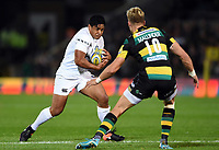 Ben Tapuai of Bath Rugby faces off against Harry Mallinder of Northampton Saints. Aviva Premiership match, between Northampton Saints and Bath Rugby on September 15, 2017 at Franklin's Gardens in Northampton, England. Photo by: Patrick Khachfe / Onside Images