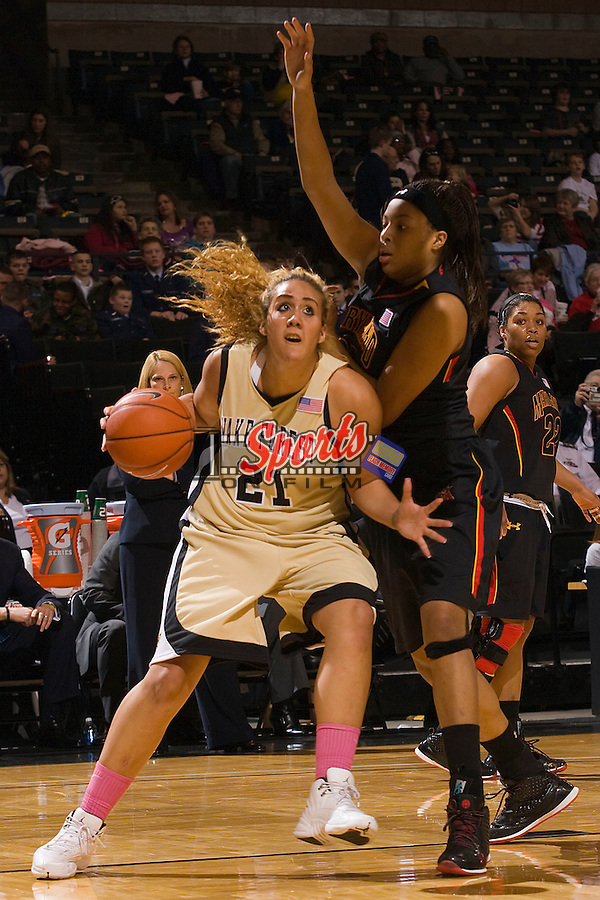 Sandra Garcia #21 of the Wake Forest Demon Deacons drives the baseline against the Maryland Terrapins at the LJVM Coliseum February 11, 2010 in Winston-Salem, North Carolina.  The Terrapins defeated the Demon Deacons 70-65.  Photo by Brian Westerholt / Sports On Film