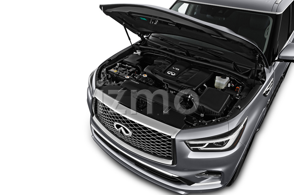 Car stock 2018 Infiniti QX80 Base 5 Door SUV engine high angle detail view