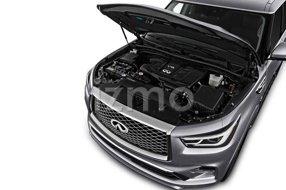 Car stock 2018 Infiniti QX80 Base 5 Door SUV engine high angle detail view