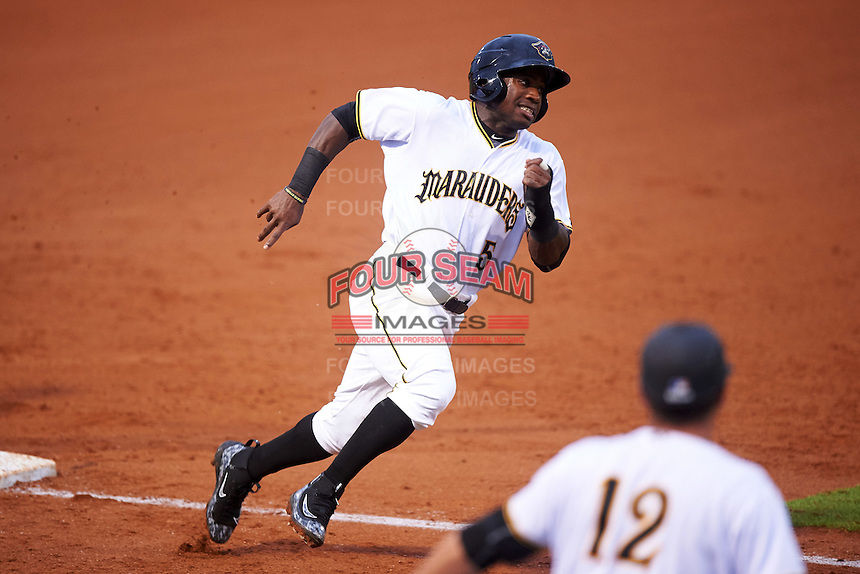 Bradenton Marauders center fielder Tito Polo (5) running the bases during a game against the Palm Beach Cardinals on August 9, 2016 at McKechnie Field in Bradenton, Florida.  Palm Beach defeated Bradenton 8-7.  (Mike Janes/Four Seam Images)