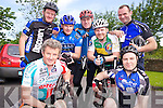 John Carmody, Billy Keane, Donie Cummane, Padraig O'Donnell, Richard Fitzmaurice, Don Keane and Brendan O'Donnell, Abbeyfeale, at the Kerry Emergency Services charity cycle with started at the Killarney Fire Station on Saturday.........................