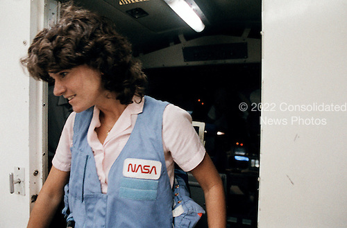 Astronaut Sally K. Ride, STS-7 mission specialist, exits the Shuttle Mission Simulator (SMS) following a training session in the Johnson Space Center's Mission Simulation and Training Facility on May 23, 1983. She and four other astronauts are on a very busy schedule of training in preparation for NASA's first five-member Shuttle crew. Launch is scheduled for June 18. The crew consists of astronauts Robert L. Crippen, commander; Frederick H. Hauck, pilot; and Dr. Ride, John M. Fabian and Dr. Norman E. Thagard, mission specialists. All but Crippen are from the 1978 class of astronauts. Dr. Ride passed away due to Pancreatic Cancer on Monday, July 23, 2012.   .Mandatory Credit: Otis Emboden / NASA via CNP