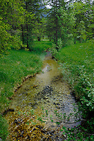 Meandering stream flowing through Bavarian countryside. Bavaria, Germany.