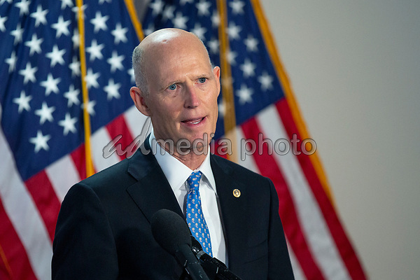 United States Senator Rick Scott (Republican of Florida) speaks to the press as he arrives to GOP policy luncheons on Capitol Hill in Washington D.C., U.S., on Tuesday, June 2, 2020.  Credit: Stefani Reynolds / CNP/AdMedia