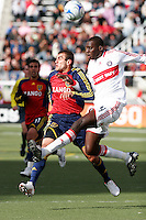 Javier Morales (11) and Yura Movsisyan (14) of Real Salt Lake and Bakary Soumare (4) of the Chicago Fire. The Chicago Fire and Real Salt Lake played to a 1-1 tie during a Major League Soccer match at Rice-Eccles Stadium in Salt Lake City, Utah on March 29, 2008.