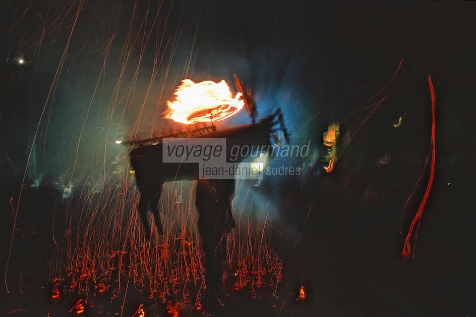 Europe/France/Aquitaine/64/Pyrénées-Atlantiques/Saint-Jean-de-Luz: Lors d'un Toro de Fuego place Louis XIV - Feux d'artifices
