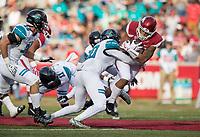 Hawgs Illustrated/BEN GOFF <br /> Fitz Wattley, Coastal Carolina safety, tackles Devwah Whaley, Arkansas running back, in the second quarter Saturday, Nov. 4, 2017, at Reynolds Razorback Stadium in Fayetteville.