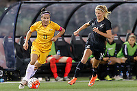 June 7, 2016: LISA DE VANNA (11) of Australia fights for the ball during an international friendly match between the Australian Matildas and the New Zealand Football Ferns as part of the teams' preparation for the Rio Olympic Games at Etihad Stadium, Melbourne. Photo Sydney Low