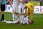 16.03.2019, BWT-Stadion am Hardtwald, Sandhausen, GER, 2. FBL, SV Sandhausen vs FC St. Pauli, <br /> <br /> DFL REGULATIONS PROHIBIT ANY USE OF PHOTOGRAPHS AS IMAGE SEQUENCES AND/OR QUASI-VIDEO.<br /> <br /> im Bild: Verletzung / Schmerzen bei Dennis Diekmeier (SV Sandhausen #18)<br /> <br /> Foto &copy; nordphoto / Fabisch
