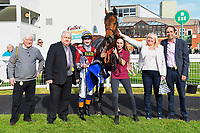 Connections of Beyond Equal in the winners enclosure after winning Winner of The Penang Turf Club Malaysia Handicap (Class 5)  during Afternoon Racing at Salisbury Racecourse on 17th May 2018