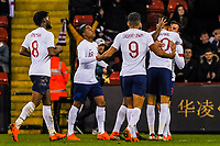 England celebrate with Liverpool's forward Domonic Solanke (20) for England U21's during the International Euro U21 Qualification match between England U21 and Ukraine U21 at Bramall Lane, Sheffield, England on 27 March 2018. Photo by Stephen Buckley / PRiME Media Images.